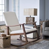Belham Living Holden Modern Rocking Chair - Upholstered - Ivory | www.hayneedle.com