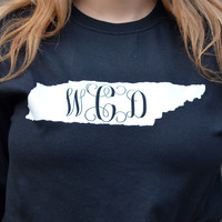 Long Sleeve Monogrammed State Shirts - 12 Colors