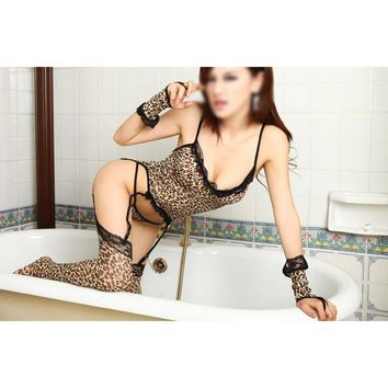 Hot Sexy Lingerie for Woman Leopard Voile Catsuit Cosplay Uniforms with G-string Sexy Costumes Clothing Set