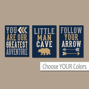 Woodland Nursery Decor, Boy Nursery Quote Wall Art, Woodland Quotes, Little Man Cave, Greatest Adventure, Canvas or Prints, Set of 3