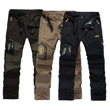 Men's Hiking Pants Outdoor Quick Dry Trousers Summer Breathable Camping Trousers Removable Shorts Trekking Hunting Fishing Pants