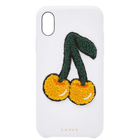 M'O Exclusive Embroidered Chenille Cherry Leather iPhone X Case | Moda Operandi