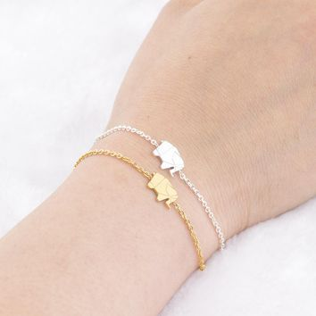 8c51929f8cc3ec Pulseras Mujer Moda Stainless Steel Gold Chain Origami Elephant