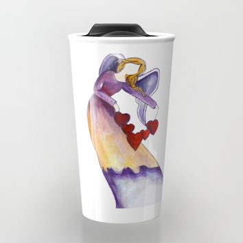 Angel With Hearts Travel Mug by Salome