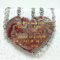 Heart Shaped Puzzle Necklaces Set of 5Necklaces Always Together Saying Metallic Mix Polymer Clay 408