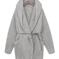 Gray Hooded Faux Fur Coat with Belt