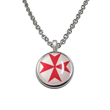 Red Maltese Cross Pendant Necklace
