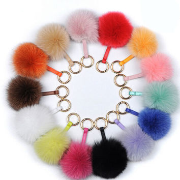 LUX FOX POM KEY CHAIN