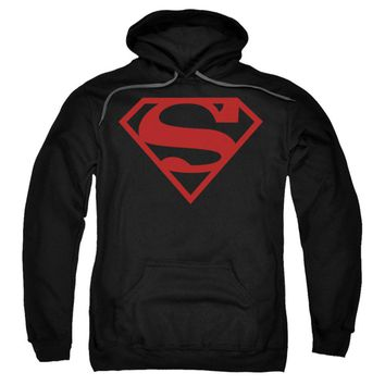 Superman Men's  Red On Black Shield Hooded Sweatshirt Black Rockabilia