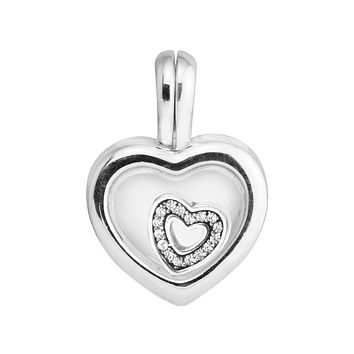 CKK 2017 mother's day Floating Small Heart Locket Charm 925 Sterling Silver Sapphire Crystal Glass & Clear CZ Beads Fine Jewelry