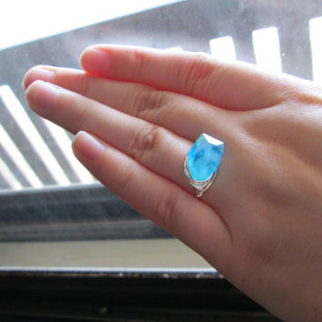 Ice Blue Ring, Wire Wrapped Glass Bead, Silver Toned Copper Wire, Custom Sizing, Made to Order