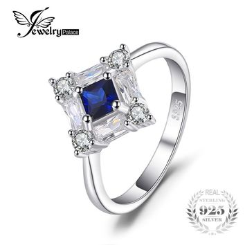 JewelryPalace Octagonal 1ct Created Blue Sapphire Rings For Women Genuine 925 Sterling Silver Engagement Wedding Fine Jewelry