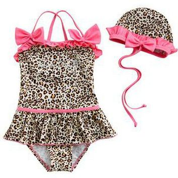 Leopard Print Kids Swimwear for Girls High Quality One Pieces Swimsuit Children Bathing Suits with Cap Sunscreen Swimming Suit