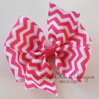Chevron Hairbow, Pinwheel Bow, Hot Pink and White, Pinwheel Hairbow, Large Hairbow, 4 Inch, Hair Accessories, Girls Hairbows, Girls Bow