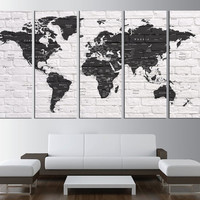 world map push pin, world map with countries canvas print, push pin travel world map wall art, extra large wall art, black and white t532