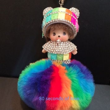 Gift monchichi rainbow series Inlay Crystal monchhichi Dolls Keychain faux fur pom pom Key chains Woman Bag Charm