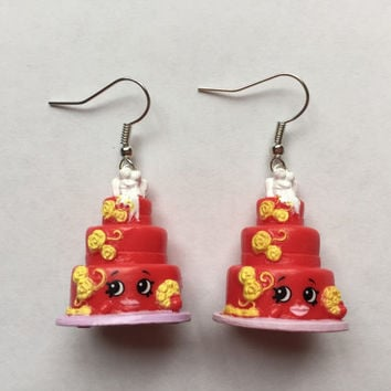 Shopkins Foodie Earrings - Wendy Wedding Cake (red) - made with repurposed toys
