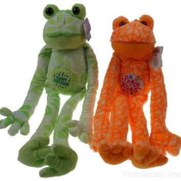 Lot 2 Peace Love Frogs Happy Birthday Hugs Hanging Plush Embroidered Soft
