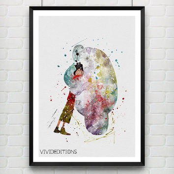 Baymax and Hiro Hamada Disney 4 Poster, Big Hero 6 Watercolor Print, Home Decor, Boy's Gift, Not Framed, Buy 2 Get 1 Free! [No 197]