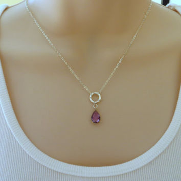 Silver Amethyst Necklace. Gem Pendant Necklace. Sterling Silver Circle Necklace. Gem Drop Necklace.