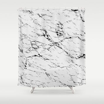 Cracks on white, gray pattern, black asymetric lines, geometric figures Shower Curtain by Peter Reiss