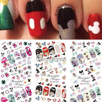 DCK9M2 Hot Sale 3 IN 1 Water Transfer Decal Stickers Nail Art Manicure Tips Mickey Minnie Mouse 3 Sheet In One Page HOT244-246