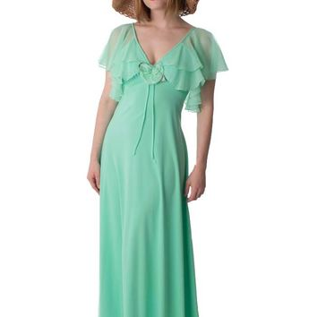 70s Mint Green Jersey 30s Inspired Maxi Dress