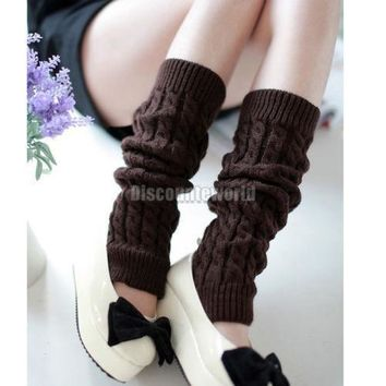 Hot 2016 New Fashion Women Winter Knit Crochet Leg Warmers warm leggings punk rock Kne