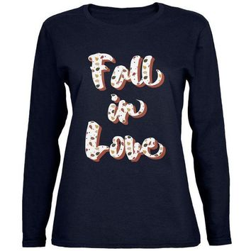 ESBGQ9 Autumn Fall in Love Leaves Pattern Womens Long Sleeve T Shirt
