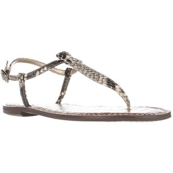 Sam Edelman Gigi Flat Sandals, Putty Snake, 7 US / 37 EU