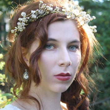 Gold flower crown floral crown Rustic bridal tiara boho hippie flower halo wreath Woodland wedding flower crown elven flower headband JUNO