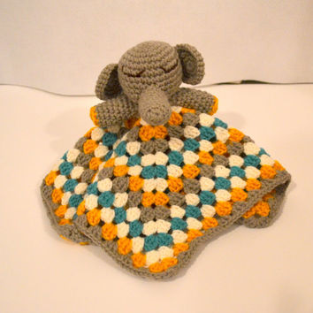 Crochet Elephant Lovey, Baby Snuggle Blanket, Amigurumi Elephant, Crochet Animal Lovey, Turquoise Gray Yellow, Security Blanket