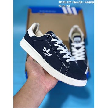 HCXX A353 Adidas Stan Smith Canvas Embroidered LOGO Low Top Skate Shoes Dark Blue