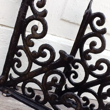 Cast Iron Brackets, Plant Hangers, Shelf Decor, Rustic Barnyard, French and Garden, French Black Decor, Set of 2