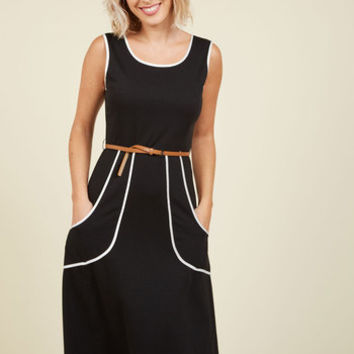 Outline of Work Midi Dress in Black | Mod Retro Vintage Dresses | ModCloth.com