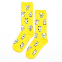 Yellow Robot Sock