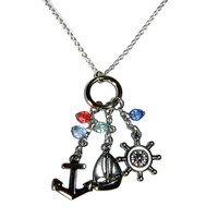 Beach Cluster Charm Necklace, Sail Boat, Anchor, Ship Wheel, Pink and Blue Beads, Vacation Necklace