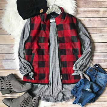 Red and Black Buffalo Plaid Quilted Vest