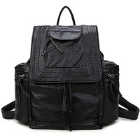 Hot Deal College Comfort On Sale Back To School Korean PU Leather Stylish Casual Backpack [6542323139]