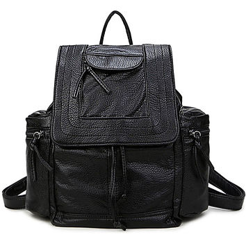 Hot Deal College Comfort On Sale Back To School Korean PU Leather Stylish Casual Backpack [4915417220]