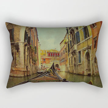 Venice, Italy Canal Gondola View Rectangular Pillow by Theresa Campbell D'August Art