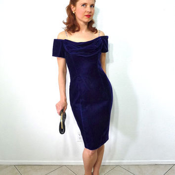 1960s Iris Velvet Dress Off the shoulder, Wiggle Mini Leslie Fay Evening Prom Party Cocktail Dress