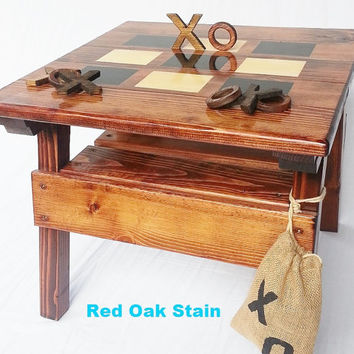 Kids Game Activity Table, Toddler+ Boy or Girl Heirloom Gift, Children's Furniture Outdoor Wood Patio / Garden, Folk Art Tic Tac Toe Game