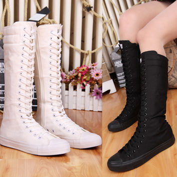 2017 New Fashion Lady Women Boots Canvas Lace Up Zip Knee High Boots Women motorcycle boots Flat Casual Tall Punk Shoes woman