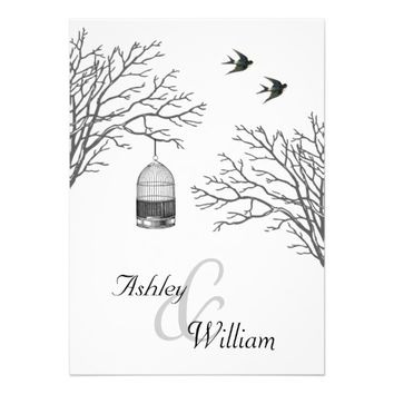Vintage Birdcage Bare Branch Swallows Wedding Personalized Invites