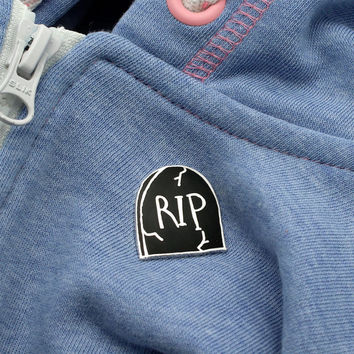 RIP tombstone Enamel Pin with clutch back // hard enamel lapel pins