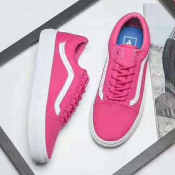 Gotopfashion Vans Classics Old Skool VN000VOK7DF canvas shoes pink&white H-CSXY""