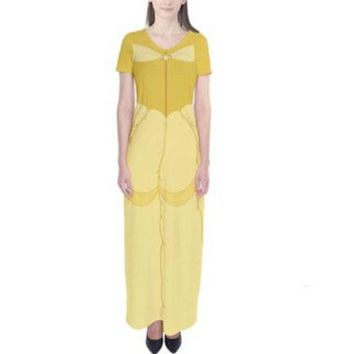 Adult Belle Beauty and the Beast Inspired Short Sleeve Maxi Dress