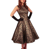 Metallic Brocade Party Dress-50s Style Dresses #50sstyledress #metallicdress #bettiepagedress #1950sstyle