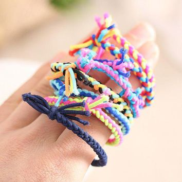 10pcs/lot Colorful Hand Wave Colorful Braided Elastic Rubber Hairband Rope Ponytail Holder Hair Accessories
